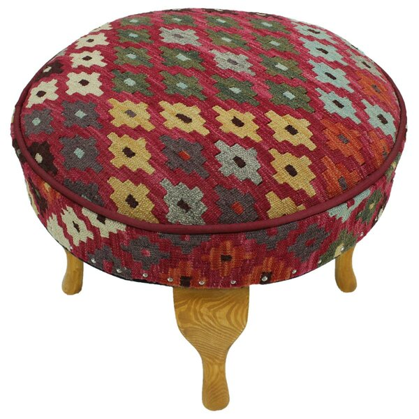 Strain Kilim Upholstered Handmade Ottoman by Bloomsbury Market