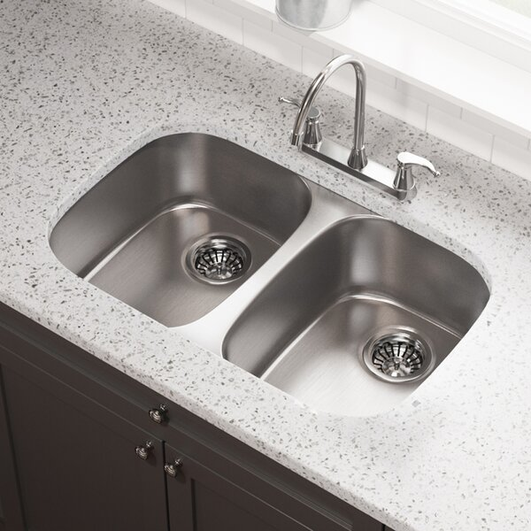 Stainless Steel 29 x 19 Double Basin Undermount Kitchen Sink by MR Direct