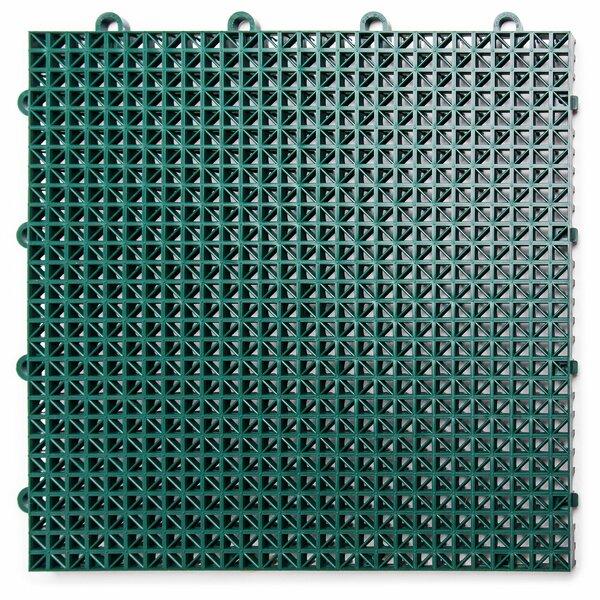 12 x 12 Plastic Interlocking Deck Tile in Ever Gre