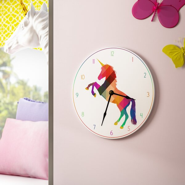 Arehart Geometric Rainbow Unicorn 12 Wall Clock by Harriet Bee