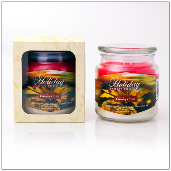 Holiday Candy Cane Scented Jar Candle by Southern Candle Classics