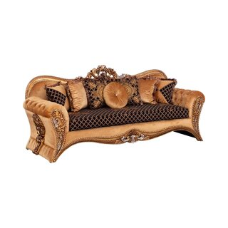 Fabric Upholstered Carved Wooden Sofa In Baroque Style,Gold And Brown by Astoria Grand SKU:CB289293 Price Compare