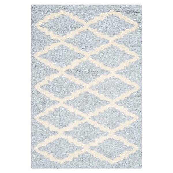 Darla Hand-Tufted Wool Light Blue/Ivory Area Rug by Winston Porter
