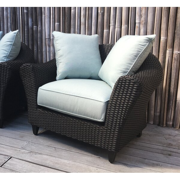 Vickey Outdoor Wicker Patio Chair with Cushions by Darby Home Co