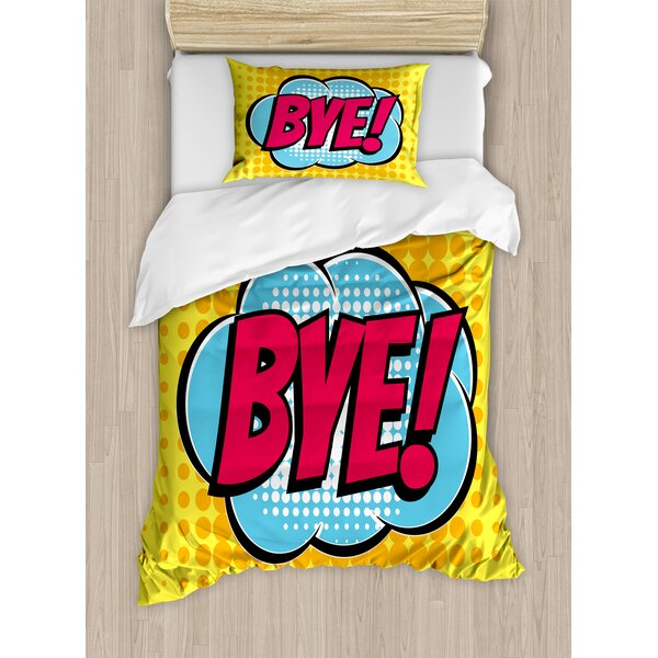 Going Away Party Decorations Comic Book Bubble Text Retro Style Bye Cartoon Duvet Set by Ambesonne