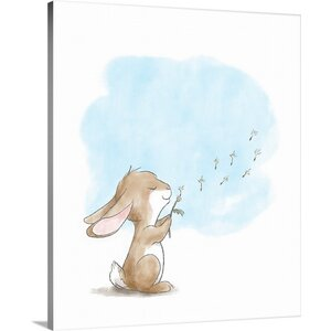'Little Bunny Blowing Dandelions' Graphic Art Print on Wrapped Canvas by Great Big Canvas