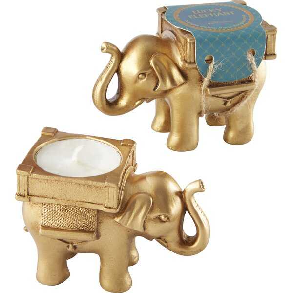 Gold Elephant Tealight Holder (Set of 10) by World Menagerie