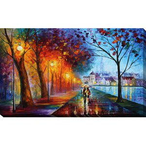 City By the Lake by Leonid Afremov Painting Print on Wrapped Canvas by Picture Perfect International