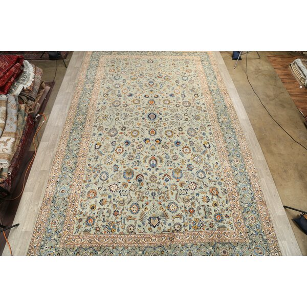 One-of-a-Kind Mcgrew Hand-Knotted 1960s Green/Blue/Red 11'4 x 18'2 Wool Area Rug