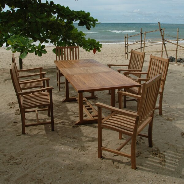 Farnam 7 Piece Teak Dining Set with Cushions by Rosecliff Heights