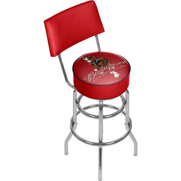Budweiser Clydesdale Swivel Bar Stool with Back by Trademark Global Trademark Global