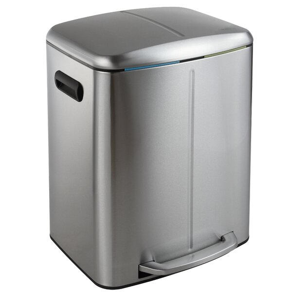 Marco Rectangular 10.5 Gallon Step-On Trash Can with Soft-Close Lid by happimess
