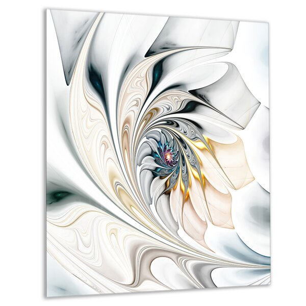 White Stained Glass Floral Large Floral Graphic Print On Wrapped Canvas In White Gray Beige By Ebern Designs.