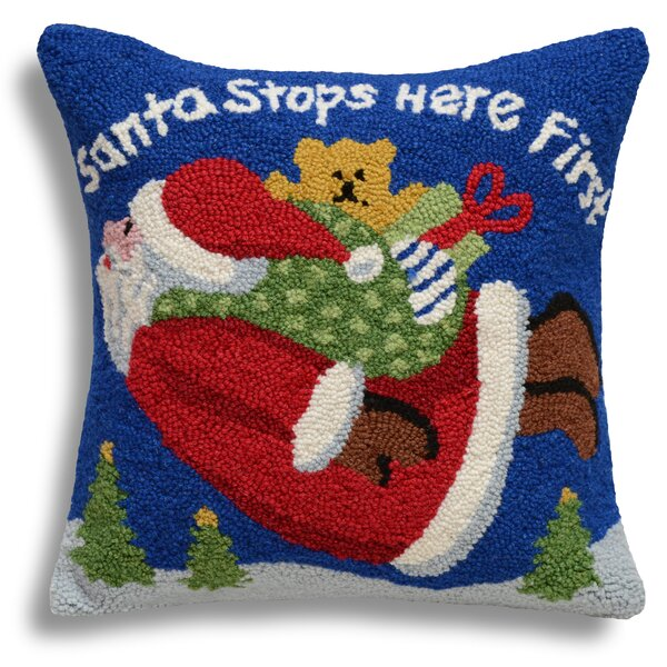 Santa Stops Here First Wool Throw Pillow by 123 Creations
