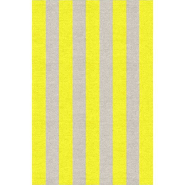 Burnell Hand-Woven Wool Yellow/Silver Area Rug by Longshore Tides