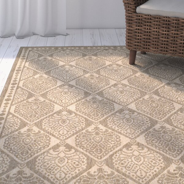 Romola Coffee/Sand Checked Outdoor Rug by Highland Dunes