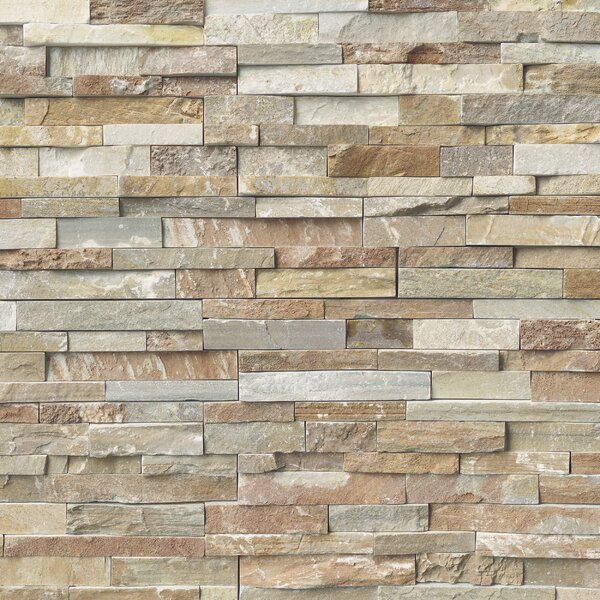 Golden White 6 x 18 Slate Stacked Stone Tile