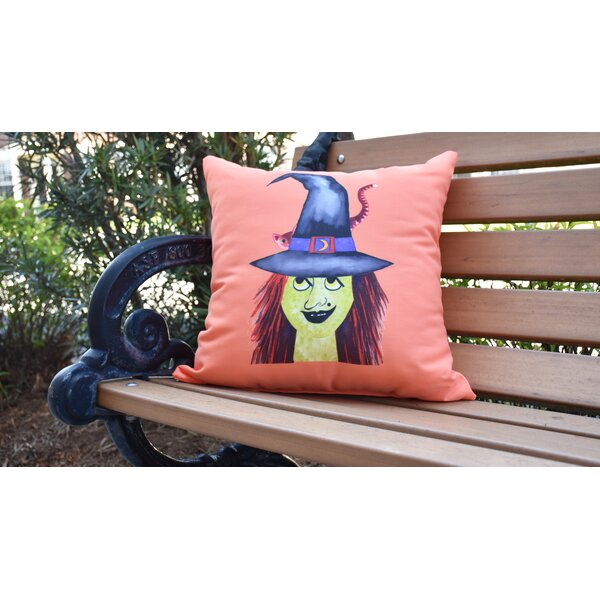 Maser Witches Hat Halloween Outdoor Throw Pillow by The Holiday Aisle