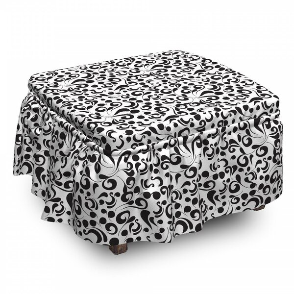 Curly Leaf Art 2 Piece Box Cushion Ottoman Slipcover Set By East Urban Home