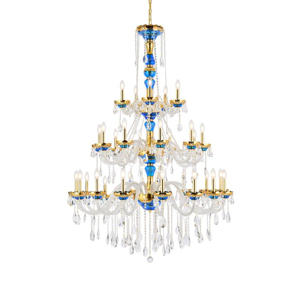 Schroeppel 30 - Light Candle Style Tiered Chandelier With Crystal Accents By Astoria Grand