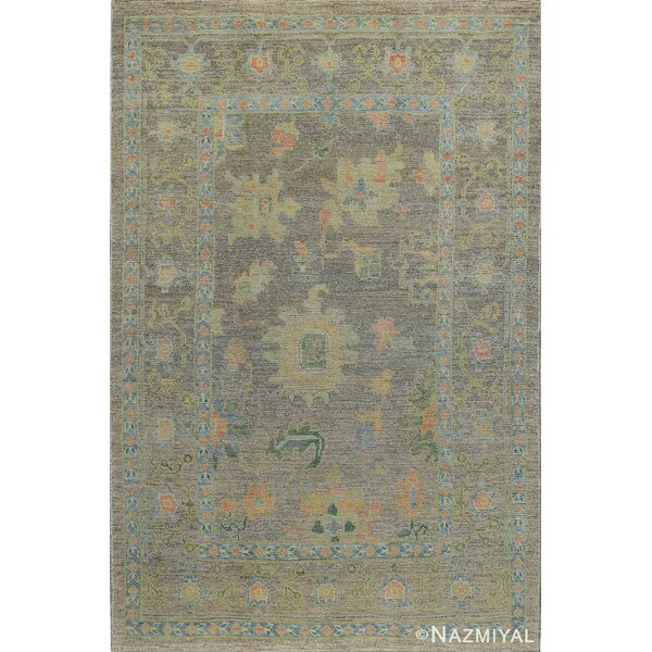 One-of-a-Kind Hand-Knotted New Age Oushak Gray 6' x 9' Wool Area Rug