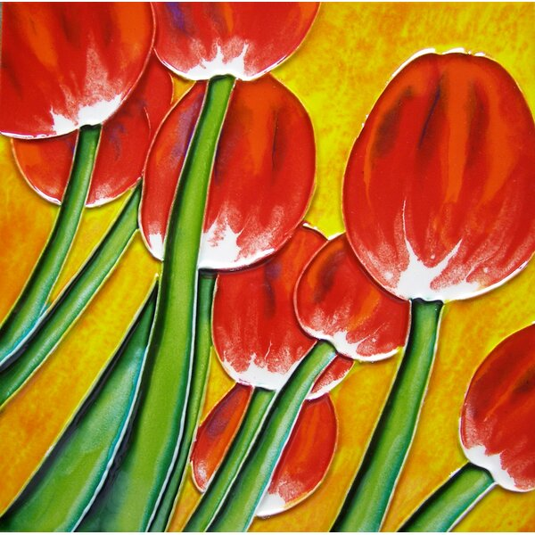 8 x 8 Ceramic Tulips with Background Decorative Mural Tile by Continental Art Center