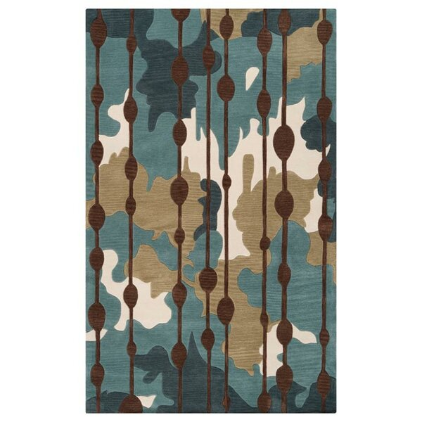 Marcela Slate Blue/Palm Green Rug by Ebern Designs