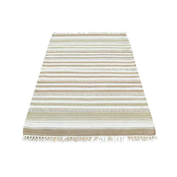 Striped Durie Kilim Flat Weave Hand-Knotted Honey Brown/Ivory Area Rug by Bloomsbury Market