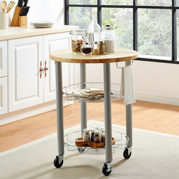 Amol Kitchen Cart with Solid Wood Top by Red Barrel Studio