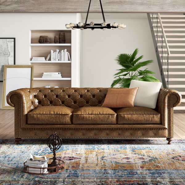 Trendy Modern Julesburg Leather Chesterfield Sofa by Trent Austin Design by Trent Austin Design