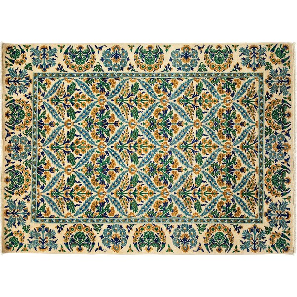 One-of-a-Kind Arts and Crafts Hand-Knotted Ivory/Green Area Rug by Darya Rugs