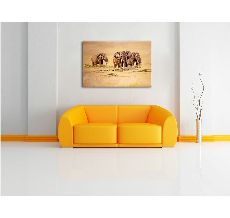 Pixxprint African Elephants in South Africa Wall Art on Canvas ...