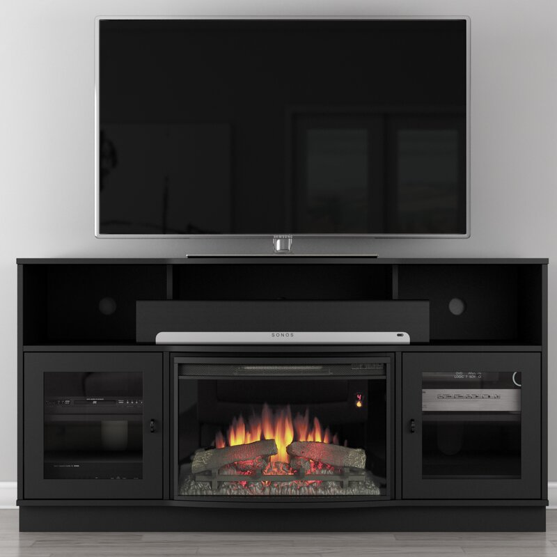 Furnitech Contemporary 64 Tv Stand With Fireplace Reviews Wayfair