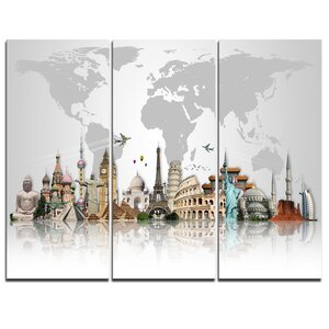 Famous Monuments Across World - 3 Piece Graphic Art on Wrapped Canvas Set by Design Art