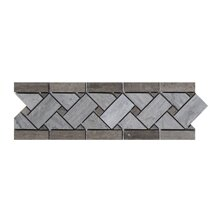 Milano 4 x 12 Marble Basket Weave Border Tile in Gray (Set of 10) by Seven Seas