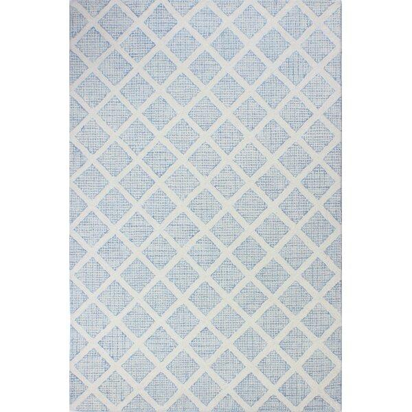 Kory Hand-Tufted Wool Ivory/Blue Area Rug by Mistana