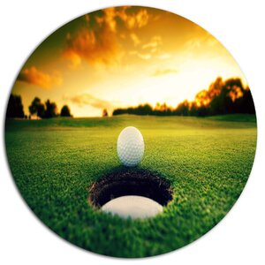 'Golf Ball Near Hole' Photographic Print on Metal by Design Art