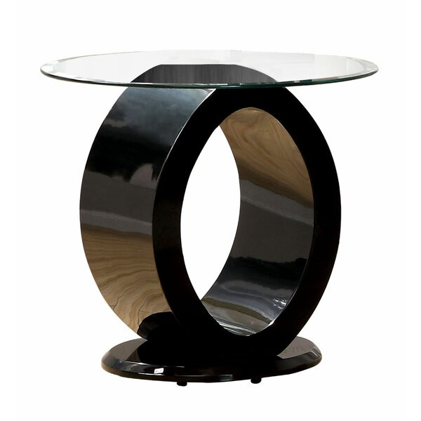 Austina Glass Top Abstract End Table By Orren Ellis