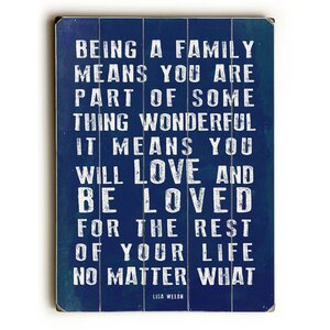Being a Family Textual Wall Art Plaque by Red Barrel Studio