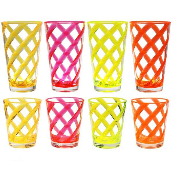 Glenorie Stripes 8 Piece Plastic Every Day Glass Set by Latitude Run