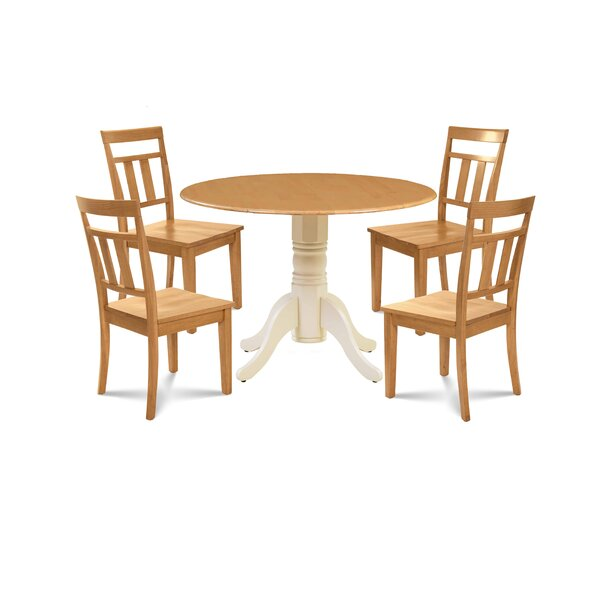 Breccan 5 Piece Drop Leaf Solid Wood Dining Set by Millwood Pines