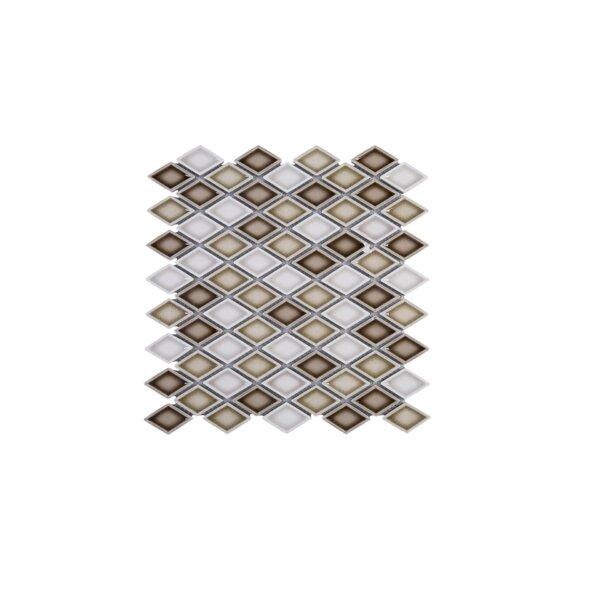 Handmade Diamond 1.5 x 1.5 Porcelain Tile in Brown/White by Multile