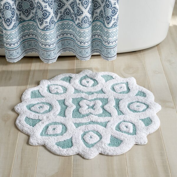 Ardara Circle 100% Cotton Floral Bath Rug