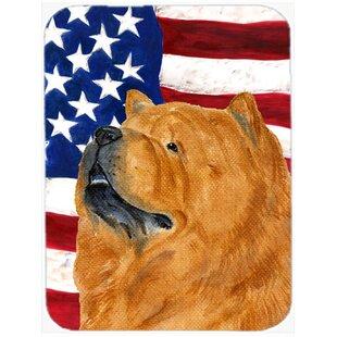Comparison Patriotic USA American Flag with Chow Chow Glass Cutting Board ByCaroline