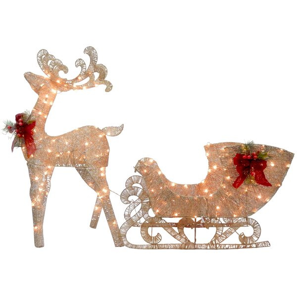Reindeer Pulling Sleigh Lighted Display by The Hol