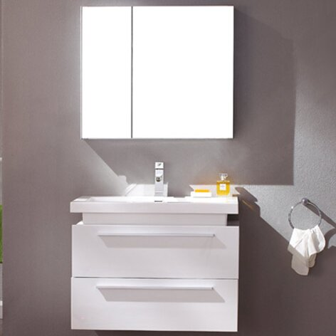 Senza Medio 31 Single Bathroom Vanity Set with Mirror by Fresca