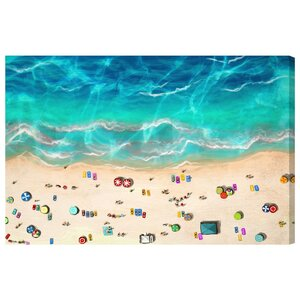 A Day at the Beach Graphic Art on Canvas by Mercury Row