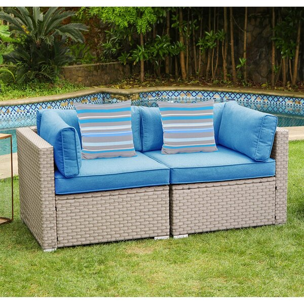 Cayden Outdoor Furniture Loveseat with Cushions by Rosecliff Heights