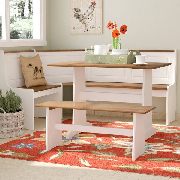 Birtie 3 Piece Solid Wood Breakfast Nook Dining Set by August Grove