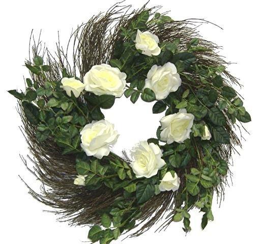 24 Matt Satin Rose Wreath by One Allium Way